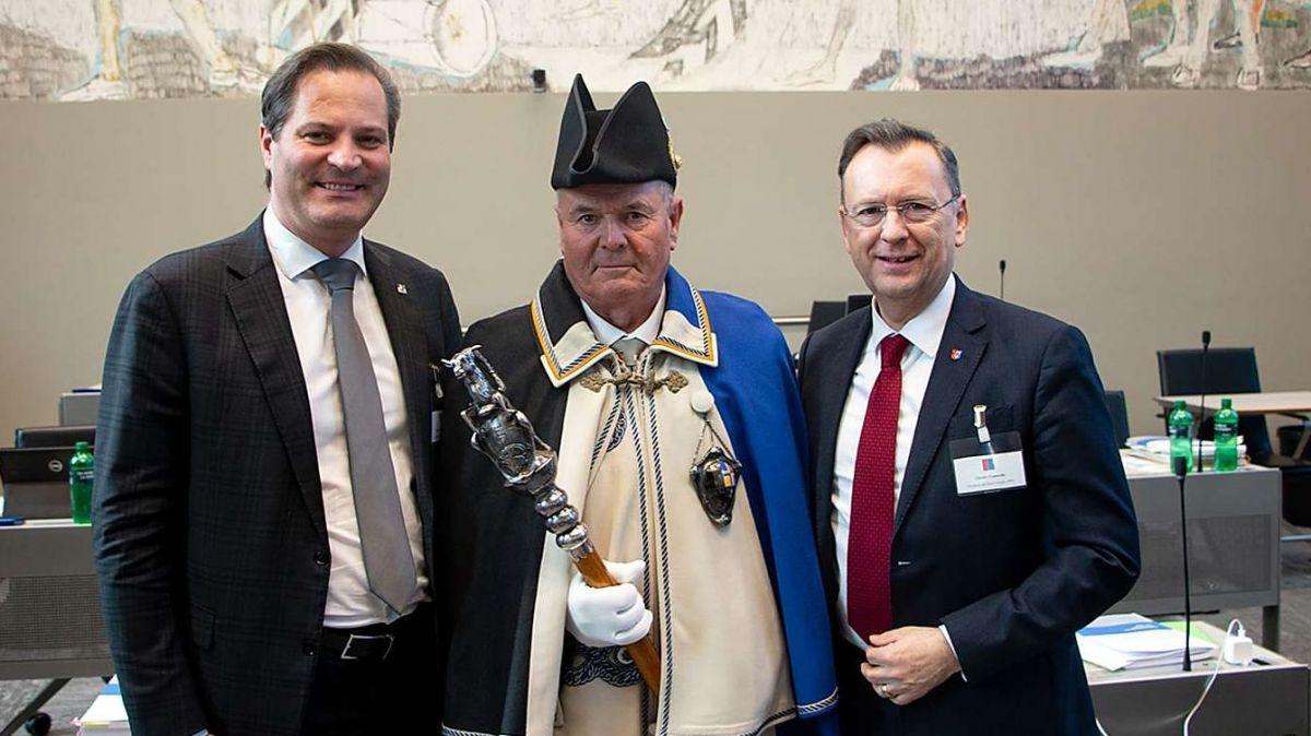 Standespräsident Alessandro Della Vedova (links) empfing seinen Amtskollegen aus dem Tessin, Claudio Franscella. Foto: z. Vfg