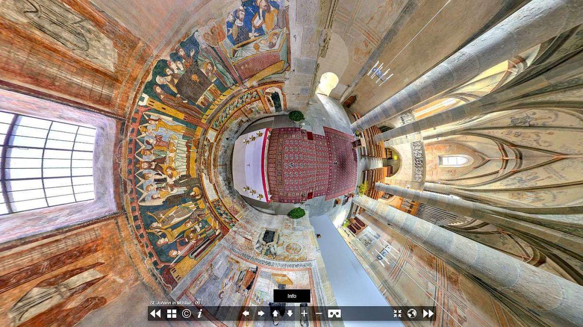 Fond la visita virtuala a la baselgia da la clostra Müstair as poja tilla verer eir da suringiò (fotografia: Spherea 3D).