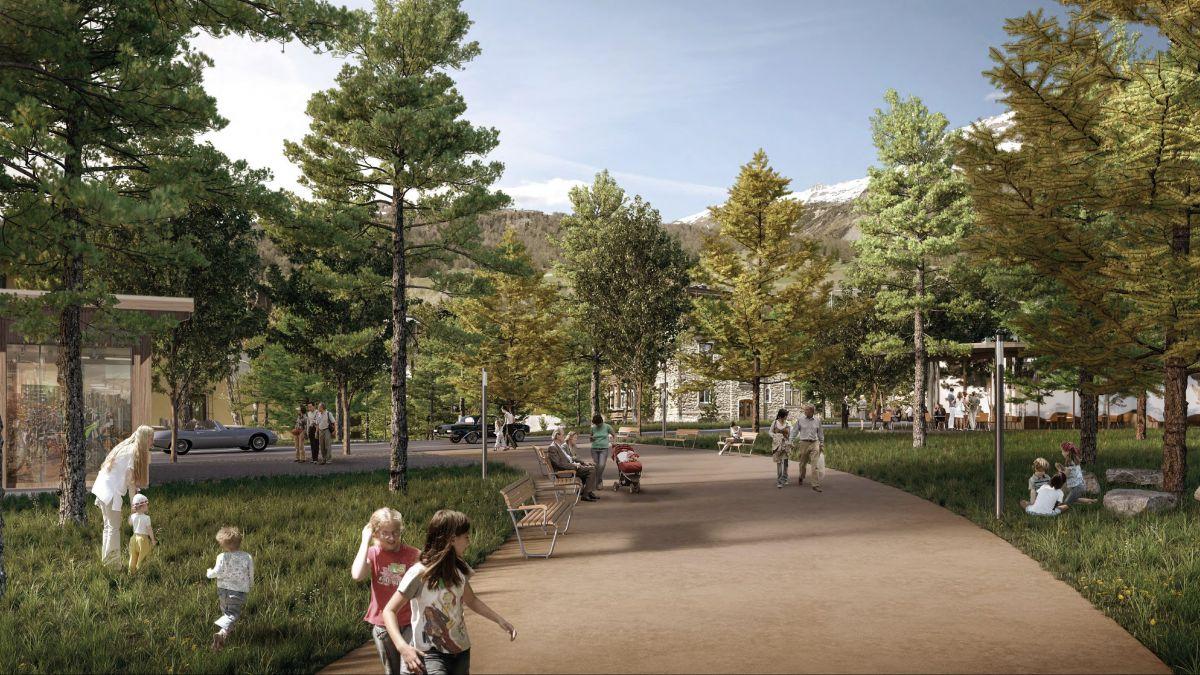 Der geplante Parkweg im Zentrum von Celerina könnte im Winter als Langlaufloipe genutzt werden.
