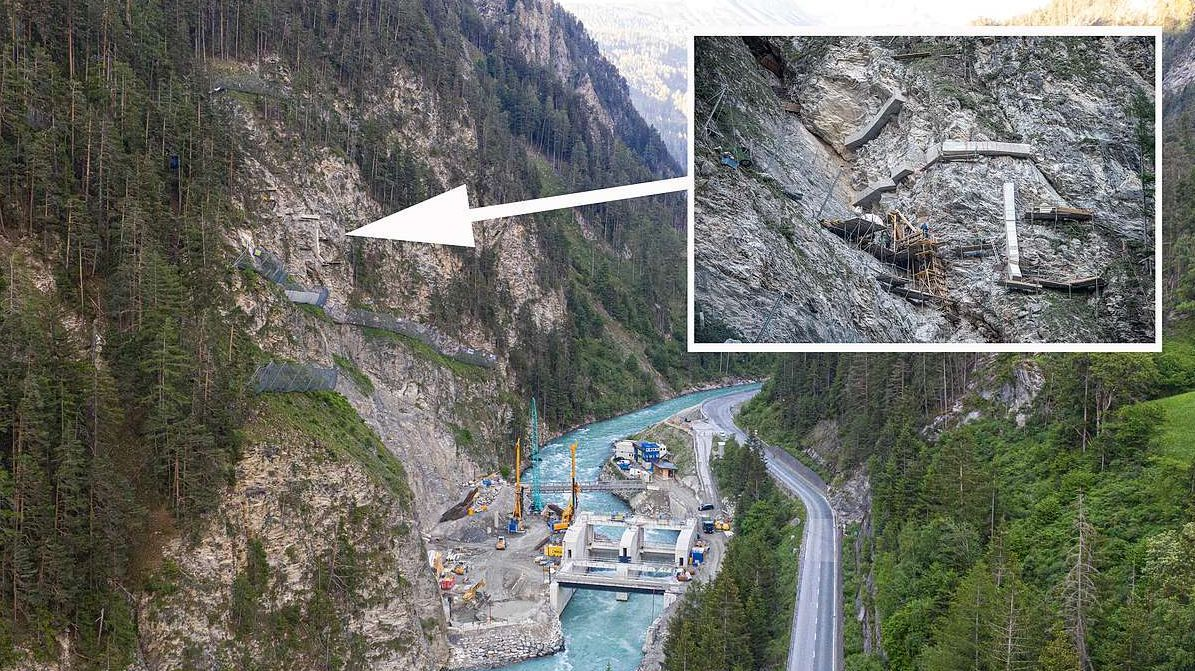 Der Arbeitsplatz befindet sich im Felshang, rund 120 Meter über dem Inn (Fotos und Video: Mayk Wendt).