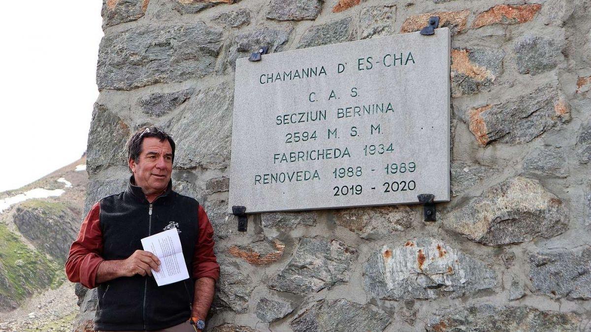 Andrea Gilli bei der Einweihungsfeier der Chamanna d'Es-cha.