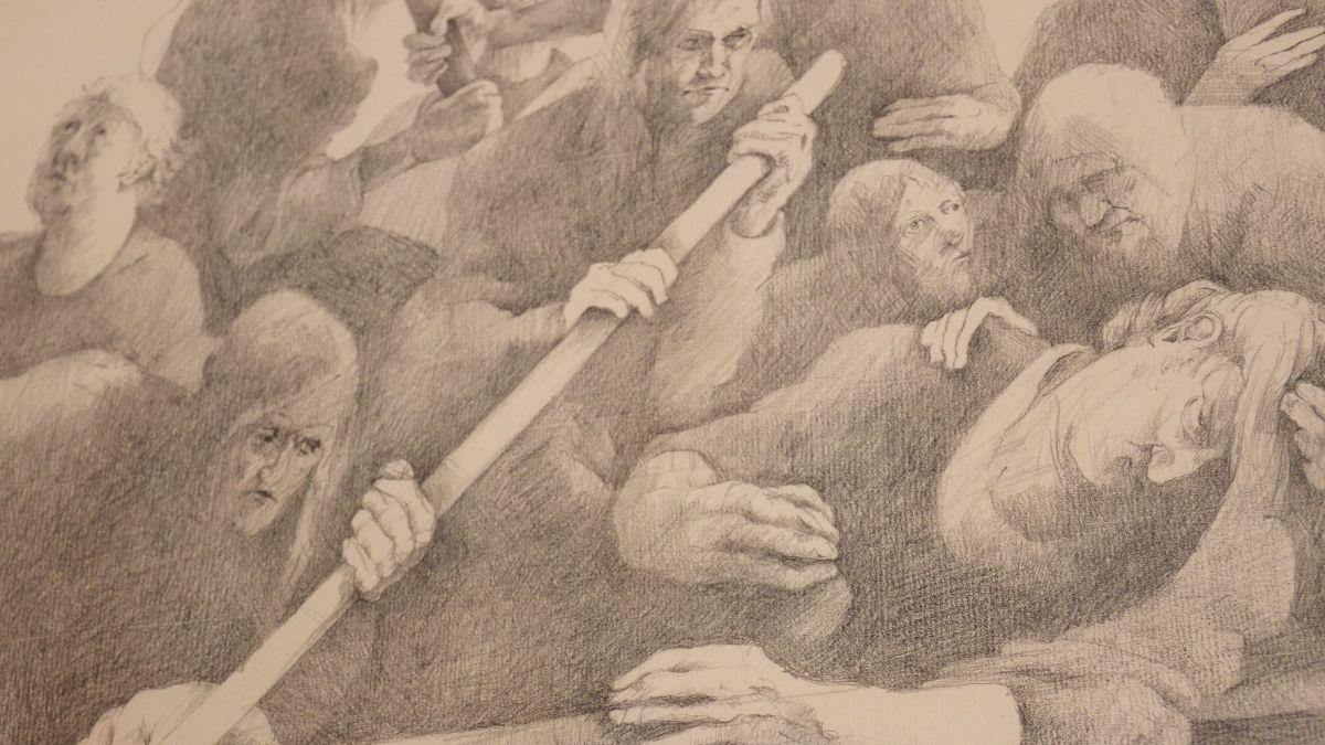 Ausschnitt einer Zeichnung von Bruno Ritter in der Ciäsa Granda. von Bruno Ritter zu sehen.
