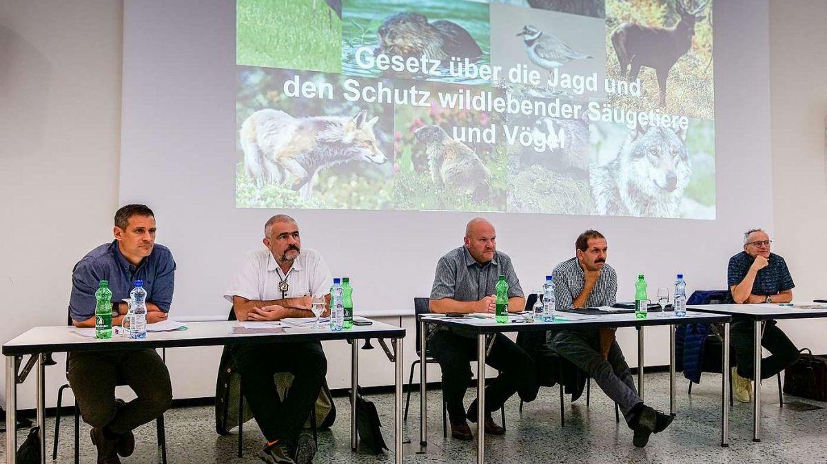 Discussiun al podium cun Adrian Arquint (da schnestra), Robert Brunold, Martin Renner, Duri Campell ed il moderatur Norbert Waser. (fotografia: Jon Duschletta)