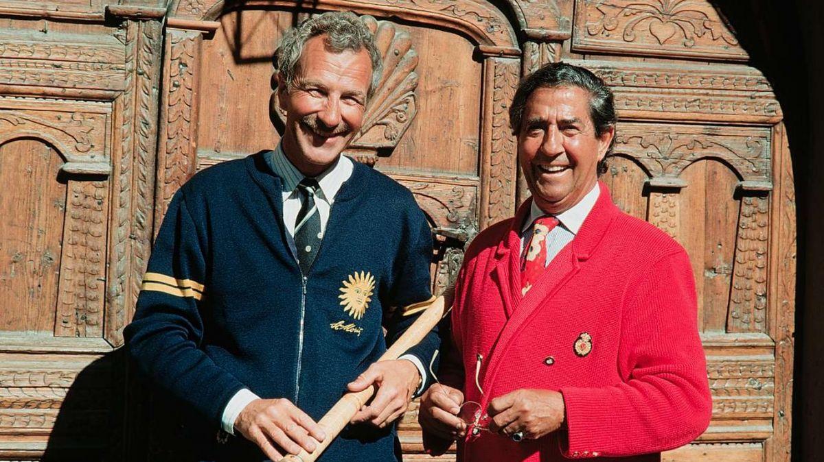 Der frühere Kurdirektor Hanspeter Danuser und Vico Torriani. Fotograf unbekannt/Dokumentationsbibliothek St.Moritz