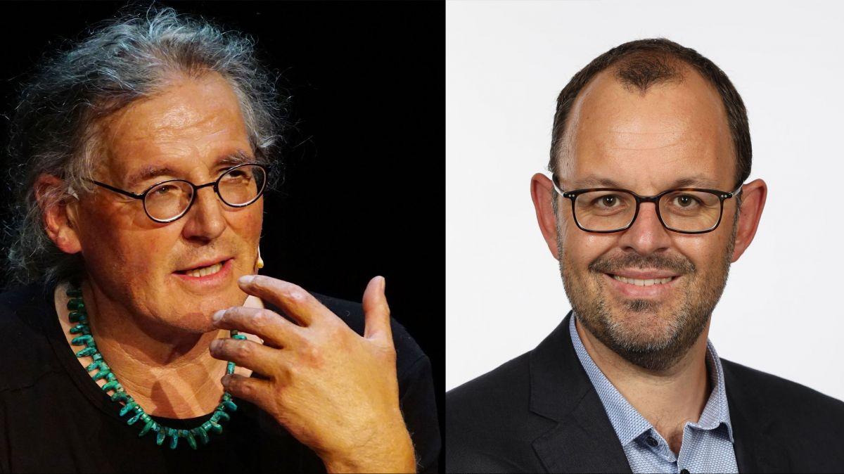 Linard Bardill (links) und Marco Michel kreuzen die Klingen. Foto: z.Vfg