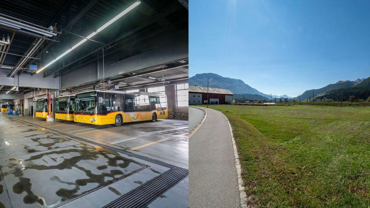 Der alte Standort der Postgarage in St.Moritz Bad (links) und das Gelände in Cho d'Punt in Samedan, auf dem die neue Buseinstellhalle mit Werkstatt gebaut werden soll.  Foto: Daniel Zaugg