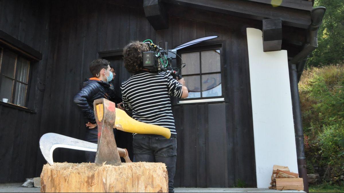 Dreharbeiten für die finale Szene beim Bootshaus Sils