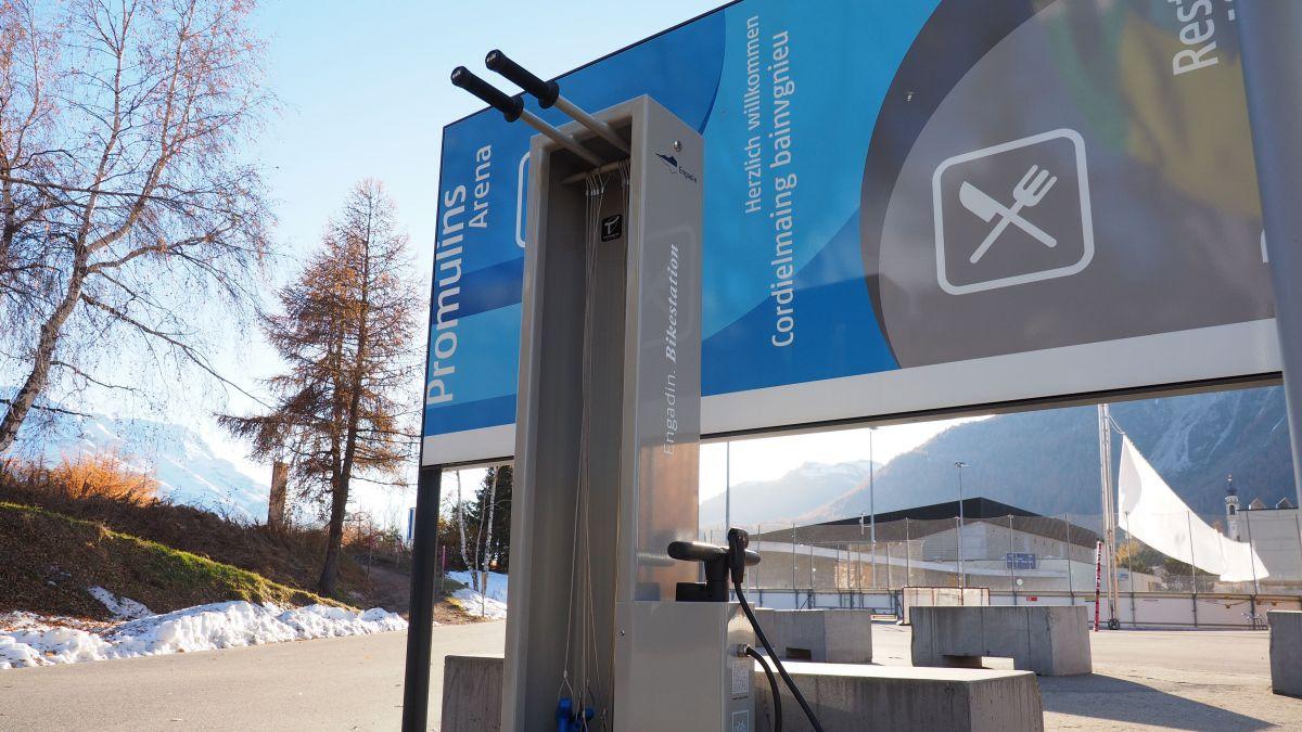 Diese Bikestation bei der Sportarena Promulins steht bereits, grössere Teilprojekte der «Engadin Arena» werden noch Jahre bis zu ihrer Umsetzung benötigen.