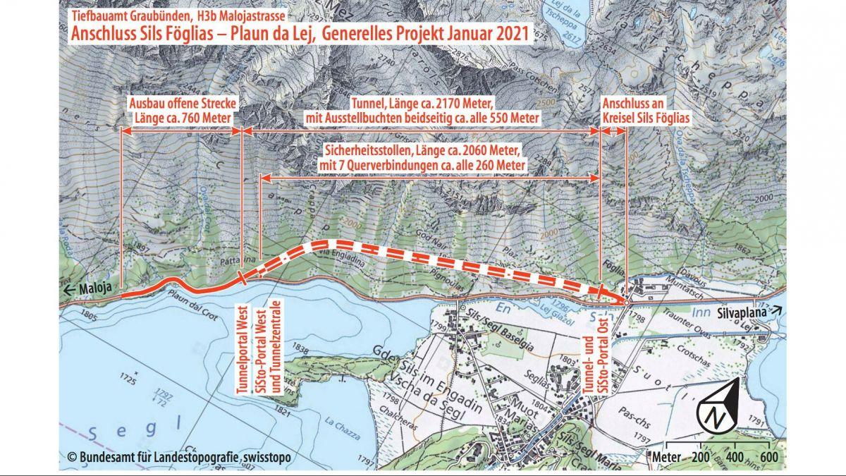 Planskizze mit den vorgesehenen Massnahmen. Quelle: TBA Graubünden/swisstopo