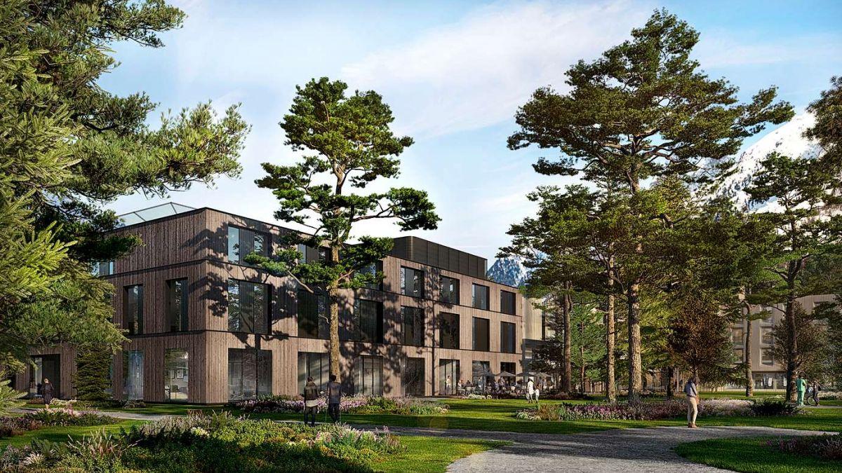 Auf der Visualisierung ist der Neubau zu sehen, rechts davon das bestehende Heilbadzentrum. Visualisierung Ingenhoven Architects