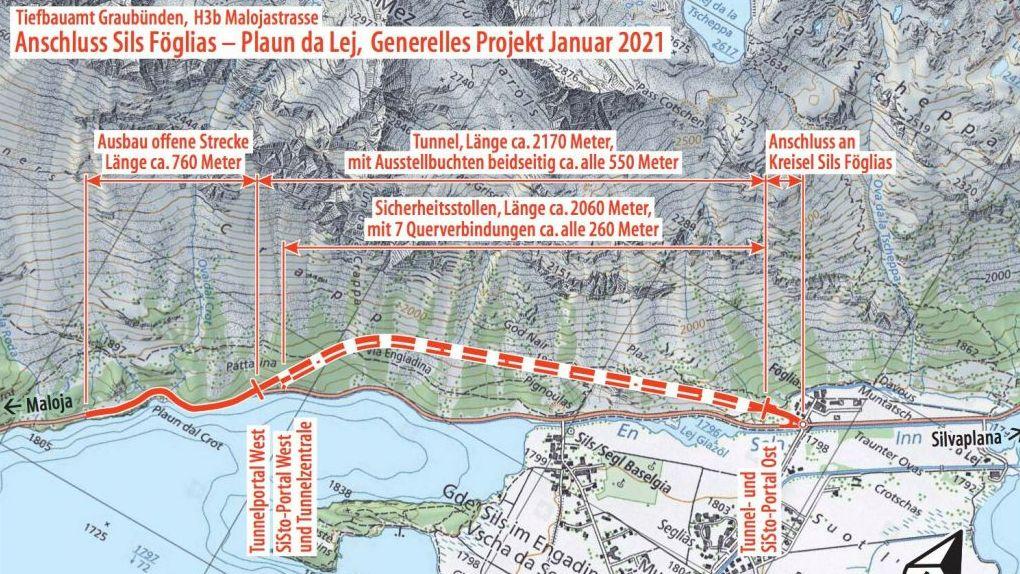 Die Grundstückbesitzer, die vom Bauprojekt als Bodenbesitzer im Gebiet des Kreisels Sigl Föglias direkt betroffen wären, fordern eine frühzeitige Partizipation. Grafik: TBA Graubünden / Swisstopo
