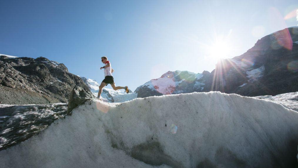 Auch das Wetter spielte mit als die Marathonläufer am Samstag den Gletscher bezwangen. Foto: z. Vfg.