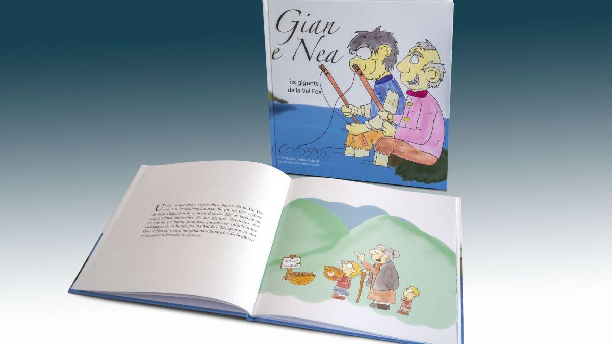 «Gian e Nea», ein romanisches Kinderbuch mit deutscher Übersetzung, handelt von zwei Riesen, die vor hundert Jahren im Engadin gelebt haben.  Foto: Daniel Zaugg