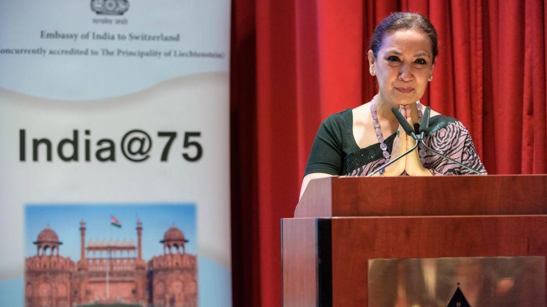 Die indische Botschafterin wurde am Mittwochnchmittag im Badrutt's Palace willkommen geheissen. Foto: fotoswiss.com/Giancarlo Cattaneo