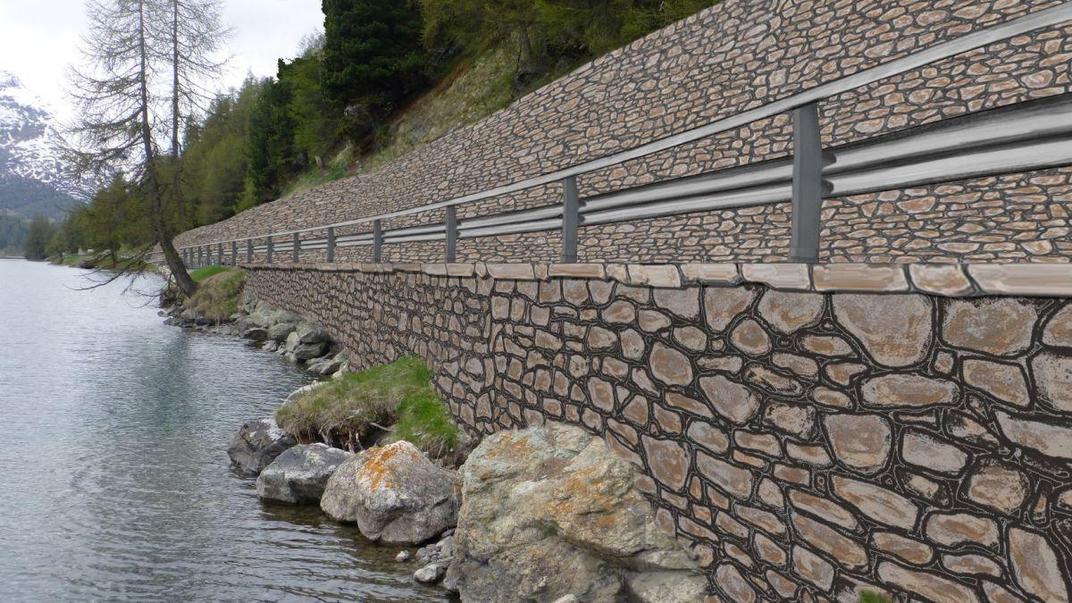 Mit diesen Wandmauern aus Stahlbeton ist das Bundesamt für Raumentwicklung nicht einverstanden. Visualisierung: Tiefbauamt Graubünden
