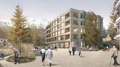 Visualisierung Pflegeheim Du Lac St. Moritz: Bob Gysin + Partner AG, Zürich, Mierta & Kurt Lazzarini Architekten AG, Samedan