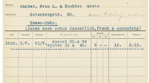 Einblick in eine der historischen Gästekarteikarten. Foto: Zollinger/Hechenblaikner