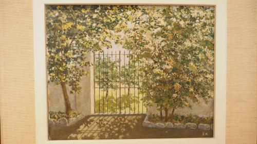 Einblick in die aktuelle Ausstellung des Museo Casa Console in Poschiavo mit einem Sommerbild von Silvia Hildesheimer. Foto: Marie-Claire Jur