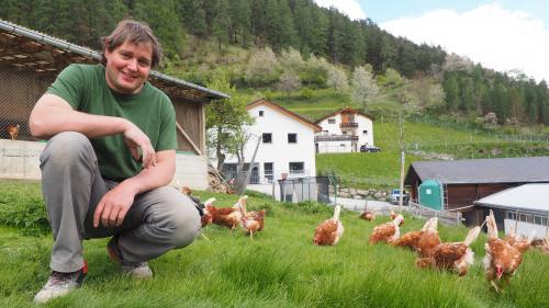 Armon Mayer hält auf seinem Bio-Hof im Unterengadin 1000 Hühner. Er ist gegen die «Agrarinitiativen».