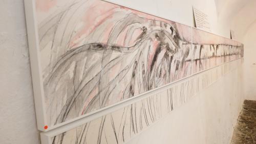 Martin Ruchs entwurzelte Bergeller Birke wird unter anderem derzeit in der Rimessa Castelmur ausgestellt.