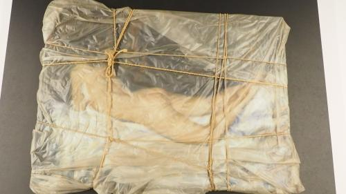 Von so nah haben wohl nur wenige ein verhülltes Objekt von Christo betrachten können. In der Chesa Planta ist dies aktuell möglich.