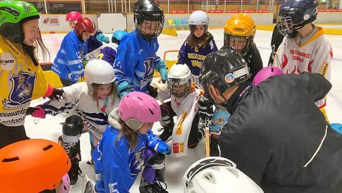 L'eivna passada a Scuol: Mats e mattas da las scoulas da l'Engiadina Bassa dürant l'instrucziun da «school goes hockey» illa Halla Gurlaina (fotografia: Roman Dobler/RTR).